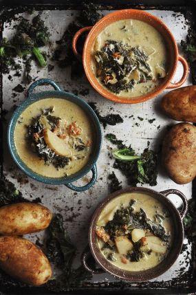 Spicy sausage kale soup